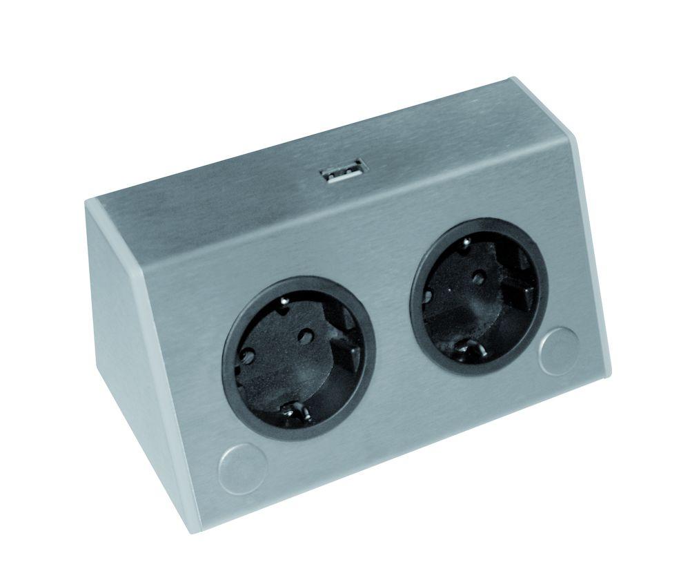 Betere Stopcontact Corner Two dubbele contactdoos met USB lader kleur Rvs ZZ-66
