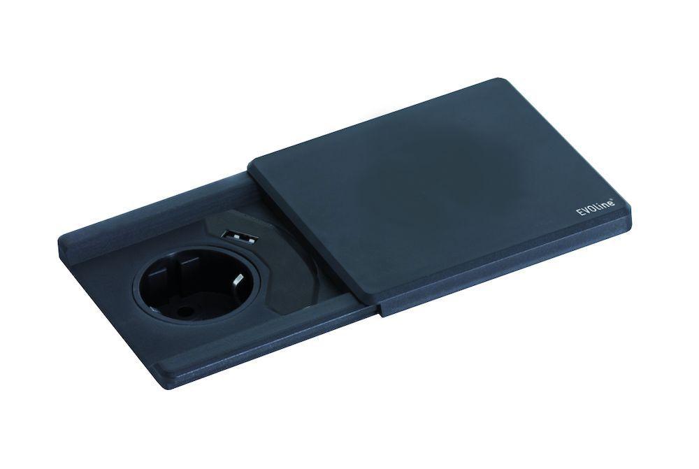 Schulte Stopcontact Evoline Square inbouw contactdoos met USB lader - Belgisch kleur Rvs-Look