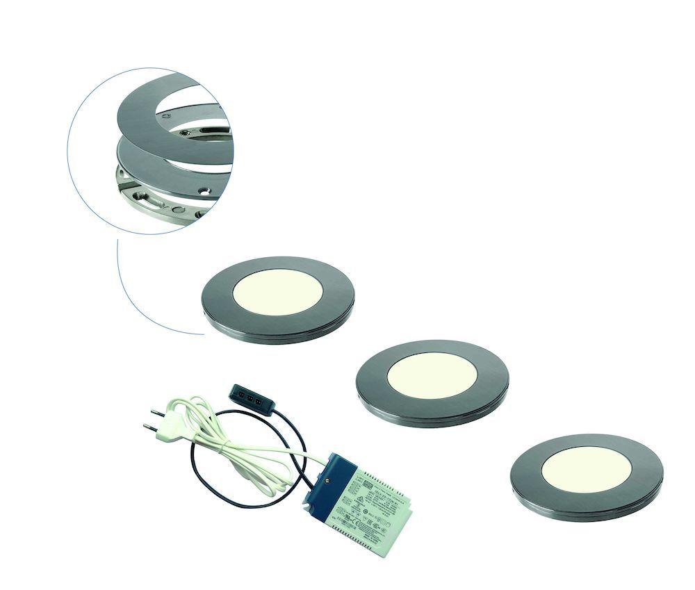 Magnetic R LED set van 3 spots met trafo RVS-look