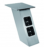 Bladsteun met twee contactdozen en USB poort schuin model RVS look
