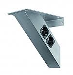 Bladsteun V-70 schuin model, met twee contactdozen en twee USB poorten (voor België) RVS-Look
