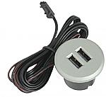 Stopcontact Dubbele inbouw USB lader kleur Alu-Look