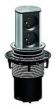 Bachmann Stopcontact Elevator 2-voudige contactdoos kleur Rvs/Zwart