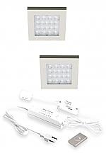 Hera EQ-Wi LED set van 2 inbouw spots 24V/15W RVS-look