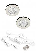 Hera ER-Wi LED set van 2 onderbouw/opbouwspots met dimmer 24V/15W RVS-look