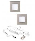 Hera FQ-68 LED set van 2 inbouw spots met dimmer 24V/15W RVS-look