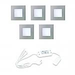 Hera LED 24V Inbouw set FQ-68 5 Spots kleur Rvs-Look
