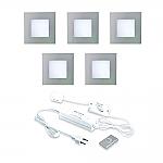 Hera LED 24V Inbouw set FQ-68 5 Spot +Dimmer kleur Rvs-Look