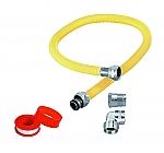 Aansluitmateriaal RVS gasslang 1200mm geel met aansluitnippels haaks/recht met tape gastec