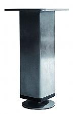 Tafelpoot Mini vierkant hoogte 195 - 215 mm kleur Rvs