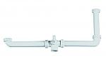 Doeco sifon voor twee spoelbakken met ongelijke diepte en vaatwasaansluiting wit