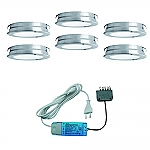Elektra Round Plate LED set van 6 inbouw spots met (dimbare) led trafo 12V RVS-look