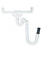 Doeco sifon voor dubbele spoelbak met flexibele aansluiting en twee vaatwasaansluitingen wit