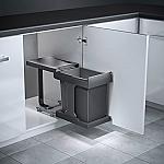 """Hailo Solo-Voluittrek afvalsysteem 20 liter grijs/zilver 3635001 (zonder """"meenemer"""", met is AE3636001)"""