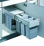 Hailo Tandem de Luxe Terzett afvalsysteem 30 liter grijs/zilver 366684