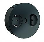 Bachmann Twist stopcontact met 2 USB laders mat zwart