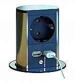 Bachmann Stopcontact Elevator enkel voudig contactdoos met USB lader kleur Rvs/Zwart