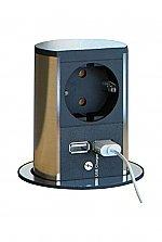 Bachmann Stopcontact Elevator enkel voudig contactdoos met USB lader. Belgisch kleur Rvs/Zwart