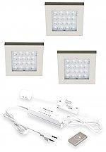 Hera EQ-CI Led set van 3 spots met dimmer onder/opbouw 24V/15W RVS-Look