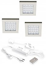 Hera EQ-Wi Led set van 3 spots met dimmer onderbouw 24V/15W RVS look