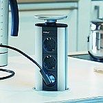 Schulte Evoline Powerport 3ST stopcontact met 3 contactdozen Belgische aarding alu/zilvergrijs
