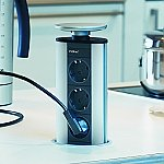 Schulte Stopcontact Evoline Powerport 3st met 3 contactdozen Belgische aarding kleur Rvs/Aluminium/Z