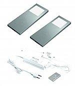 Hera Slim Pad F Dynamic LED set van 2 spots met kleur/dim-controller met afstandsbediening 24V RVS-look