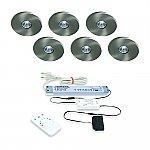 Super Light Emotion LED set van 6 inbouw spots met kleur/dim-controller en afstandsbediening 12V/30W RVS-look