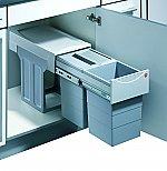 Hailo Tandem Luxe Afvalsysteem 30 liter grijs/zilver 366682