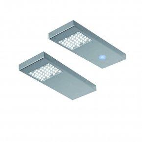 Dotty LED set van 2 onderbouw spots met touch/dimmer 12V RVS