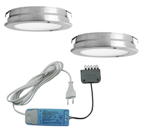 Elektra Round Plate LED set van 2 inbouw spots 12V RVS-look