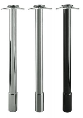 Tafelpoot Deluxe hoogte 805 - 905 mm kleur Rvs-Look