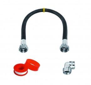 Aansluitmateriaal rubber gasslang 600mm met aansluitnippels haaks/recht met tape gastec