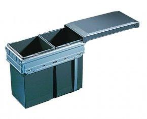 Hailo Tandem Front afvalsysteem 30 liter grijs/zilver 366310