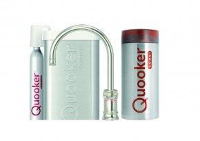 Quooker Cube Classic Nordic single tap round nikkel glans met Combi reservoir