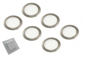 Chip Emotion LED set van 6 spots met dimmer onderbouw 12V/30W RVS