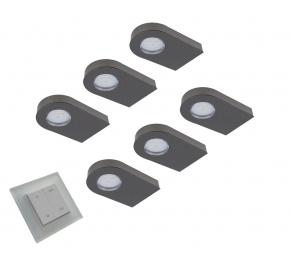 Glass Point Emotion Led set van 6 spots met dimmer onderbouw 12V/0,8W zwart